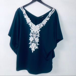 Lane Bryant Batwing Blouse With Lace Embroidery